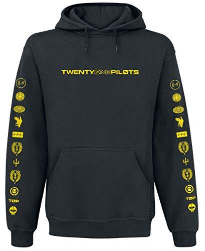 Twenty One Pilots Logo Heavy Hombre Sudadera con Capucha Negro M, 70% algodón, 30% poliéster, Regular