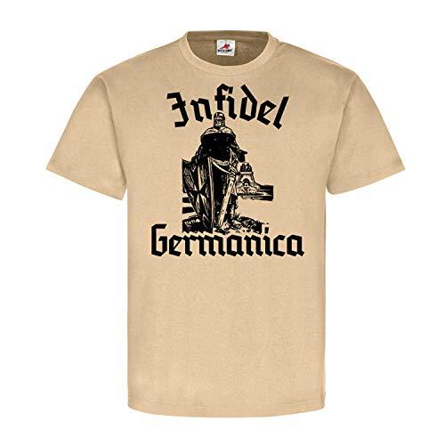 Infidel Germanica Kreuzritter Deutschland Völkerschlachtdenkmal Abendland T Shirt #22816, Größe:XXL, Farbe:Sand