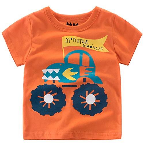 Oyoden Camisetas Manga Corta Niño Dibujos Animados Tops Bebé Verano Algodón Blusa 1-7 Años(1-2 años, Naranja)