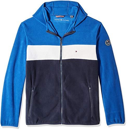 Tommy Hilfiger Men's Hooded Performance Fleece Jacket, royal/white/navy, Large