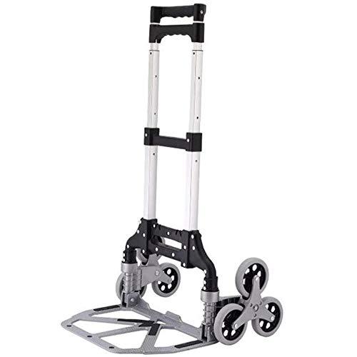 carretilla plegable aluminio Carro plegable de 6 ruedas, escalera de escalada silenciosa con cuerda elástica, soporte reforzado, duradero, ligero y que ahorra mano de obra, rodamiento de 75 kg-negro