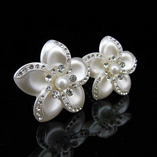 Power of Parfumes Miya® Lot de 4 Glamour magnifiques glanzende Blanc Fleur Perle cristaux, épingles à cheveux haarpin spirales, cheveux de mariée Bijo
