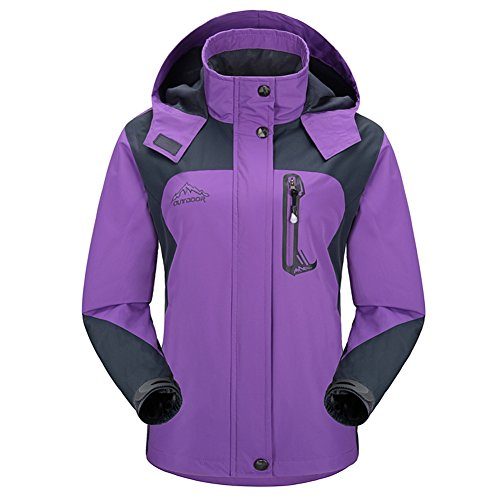 Diamond Candy Sportswear Women's Hooded Softshell Raincoat Waterproof Jacket P 5 M Purple