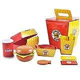 Küchenspielzeug Holz Zubehör Kinderküche Hamburger Set Frites, Lernspielzeug Kinder-Rollenspiele