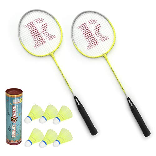 SUNLEY Nexta Set of 2 Piece Badminton Racket with 6 Piece Nylon Shuttle