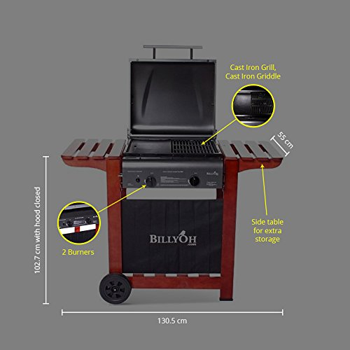 BillyOh Acorn Hooded 2 Burner Gas BBQ Grill with Free Propane Regulator