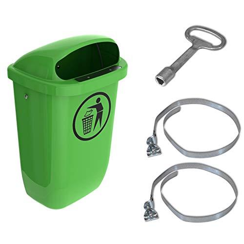 Sulo-Set Papierkorb 50 Liter grün mit 2 Befestigungsschellen & 1 Dreikantschlüssel