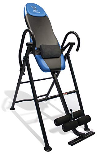 Body Vision IT9550 Deluxe Inversion Table with Adjustable Head Pillow & Lumbar Support Pad, Blue - Heavy Duty up to 250 lbs