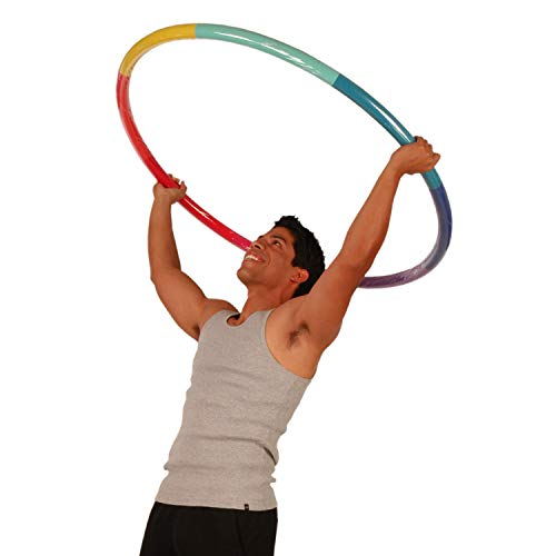 Sports Hoop Weighted Hoop, Weight Loss Trim Hoop 4B - 3.9lb (41 inches Wide) Large, Weighted Fitness Exercise Hula Hoop with No Wavy Ridges (Rainbow)