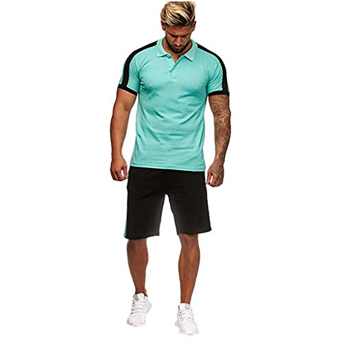 Realdo Big Mens Tracksuit Set,Men's 2 Pcs Casual Solid Stripe Shirt Shorts Sports Thin Athletic Wear