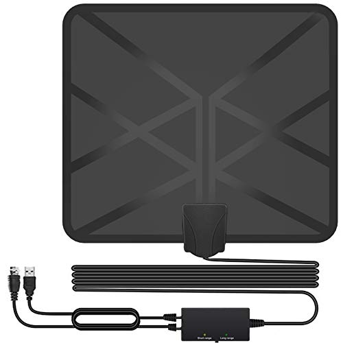 HDTV Antenna,130+ Miles Long Range Indoor Digital TV Antennas with Switch Amplifier Signal Booster for Local Channels 4k HD 1080P 2016P All Older TV's - 16.5ft Coax Cable