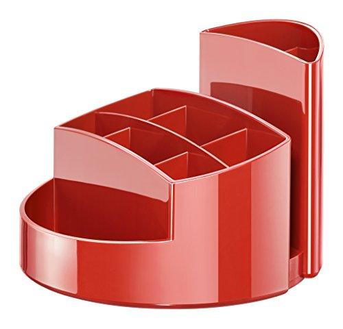 HAN Stifteköcher RONDO 17460-17 in Rot – Stiftebox aus hochwertigem Kunststoff mit 9 Fächern – Schreibtisch Ordnungssystem für das Büro