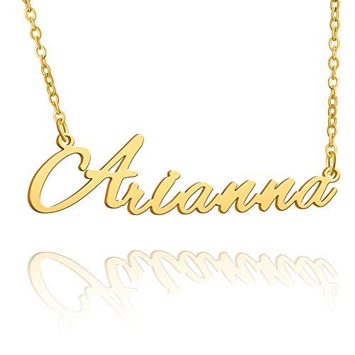 BUREI Collana con Nome Personalizzato da Donna Collana con Pendente Placcato Oro 14k Regali per Arianna