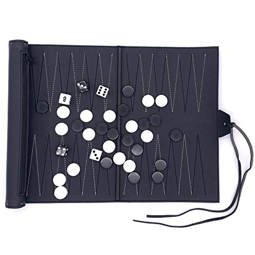 JXWH Travel Backgammon Set, Roll-Up Suede Backgammon Game, PU Leather Chessboard The Classic Board Game