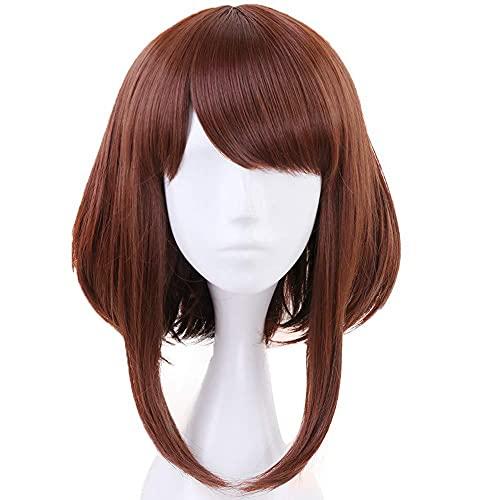 Ochaco Uraraka Wig Short Brown Bob Wigs with Bang Cosplay Anime Makeup for My Hero Academia