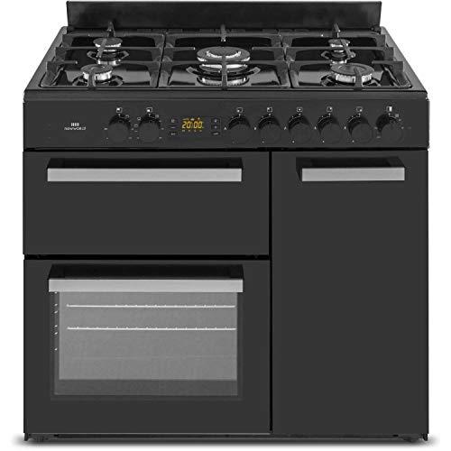 New World 90cm Dual Fuel Range Cooker - Black