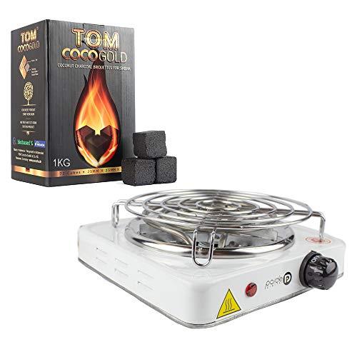 1kg de charbon pour chicha Tom Cococha Premium Gold et plaque électrique allume-chicha de faible consommation