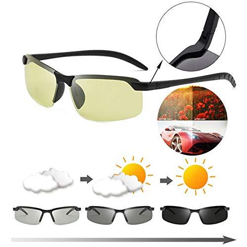 JHGJG mannen vissen gepolariseerde fotochrome zonnebril, gekleurde anti-schittering mannelijke zonnebril, mannen Womens Transition Lens voor dag en nacht visie rijden