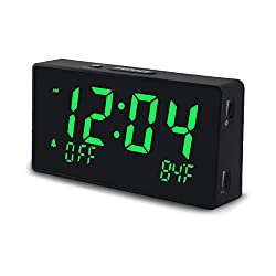 Digital Alarm Clock for Bedroom with Large LED Numbers, Dimmable Brightness, Adjustable Alarm Volume, 12/24H, Temperature, USB Charging Port, Comes with Adapter (Green Numbers)