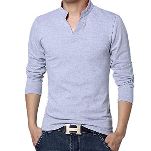 N\P Hombres de primavera de algodón de los hombres de color sólido camisa solapa manga larga hombres