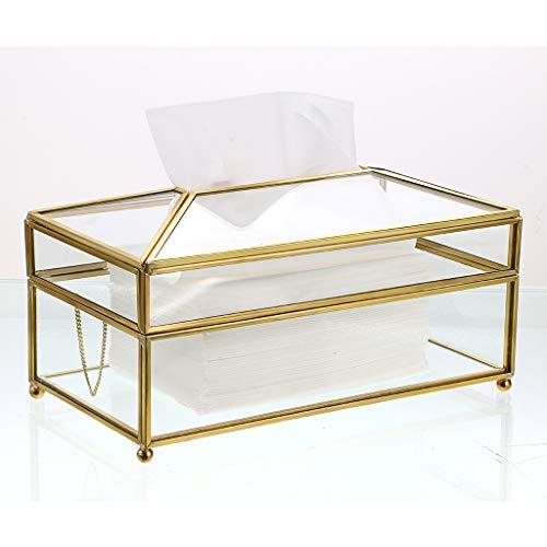 Sumnacon Papiertaschentuchbox, Servietten-Aufbewahrungsbox, transparentes Glas, für Esszimmer, Kommodendekoration, Schlafzimmer (groß)