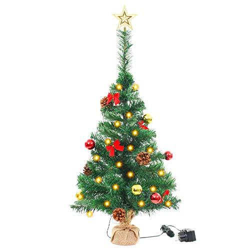 Estink Árbol de Navidad de 64 cm con 20 LED, con 60 ramas, 6 bolas de oro y rojo, 4 diferentes efectos de luz, IP44, impermeable, PVC, para casa, tienda, parque, fiesta, verde