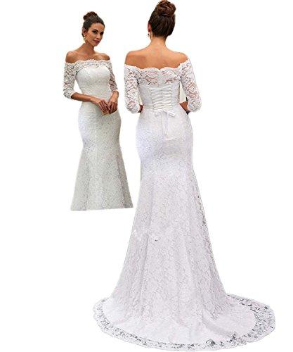CoCogirls Jahrgang Spitze Meerjungfrau Strand Hochzeitskleid Halbe Ärmel Hofzug Trompete Lange Braut Kleider Brautkleid (50, Elfenbein)