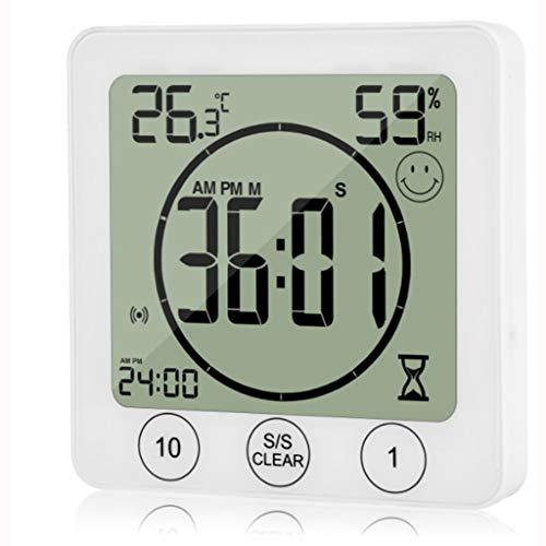 Temporizador de Cocina Temperatura Reloj Digital Pantalla LCD Control Táctil Alarma Temporizador para Baño de Cocina (Color : White)