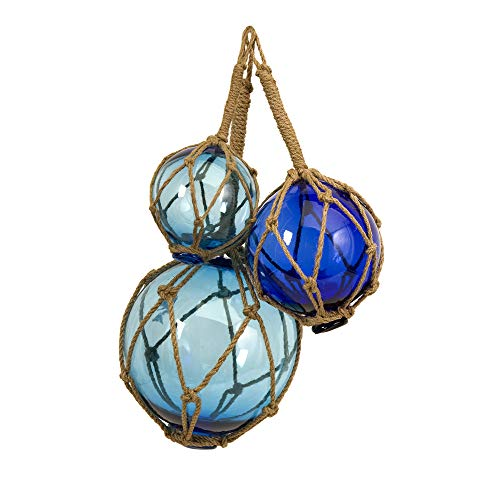 IMAX 50890-3 Buoyant Glass Floats in Blue - Set of 3 Glass Fishing Net Floats - Coastal Indoor and Outdoor Accessory. Decorative Accessories