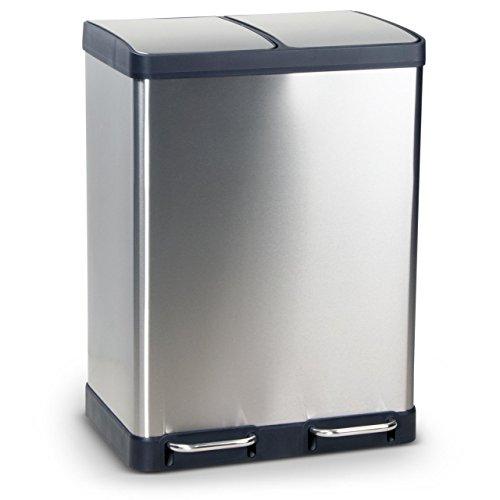 Mülleimer Abfalleimer OSLO/BERGEN aus Edelstahl Mülltrennsystem für die Küche, erhältlich mit einem Volumen von 40 bzw. 60 Liter, Anti-Fingerabdruck Beschichtung und Soft-Close-Technologie