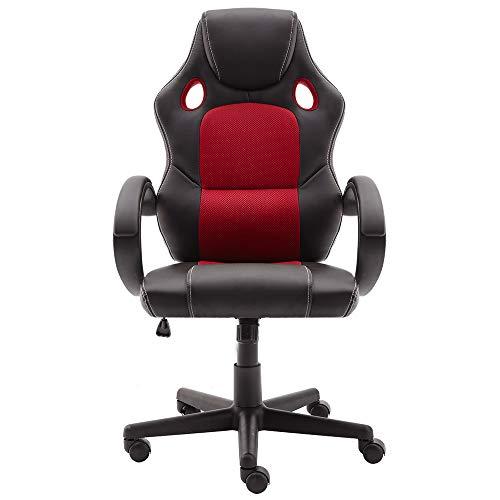 Not Applicable STmeng Bürostuhl, drehbar, ergonomischer Bürostuhl mit Armlehnen, Verstellbarer Drehgelenk, Bürostuh (rot)