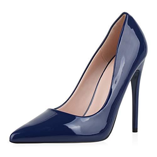 SCARPE VITA Damen Pumps High Heels Elegante Lack Schuhe Stiletto Absatzschuhe Spitze Partyschuhe 186257 Dunkelblau 38