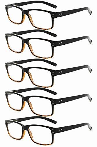 Eyekepper 5 paquetes de bisagra con muelle Vintage Gafas de Lectura (Negro/Amarillo,+2.50)