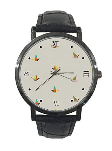 Colorido Origami Cranes Patrón Nuevo Simple Moda Acero Cuero Analógico Cuarzo Reloj Deportivo