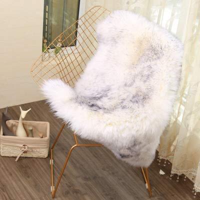 SWECOMZE Sitzkissen,Faux Lammfell Schaffell Sitzauflage Flauschige Sitzauflage Longhair Fell Optik Nachahmung Wolle Sofa Matte (weiß grau,75x120cm)