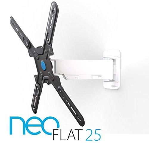 exelium neoFLAT 25 TV supporto 81-140cm (32-55°) girevolmente (+/- 5 °), orientabile (+/- 70 °), inclinazione (+ 10 °/-15 °), max 25 kg distanza parete 35-360mm, VESA 75x75 a 400x400, bianco