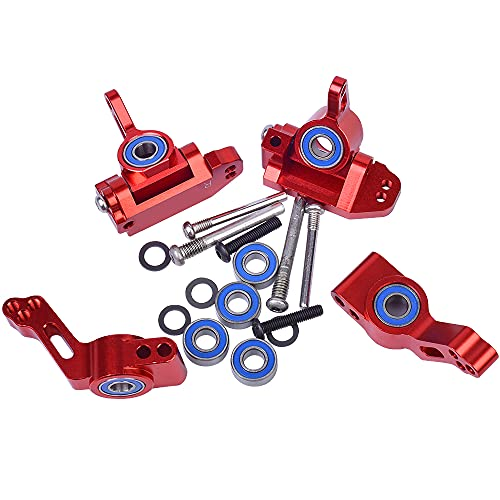 Globact Aluminum Alloy Front Caster Block&Steering Blocks and Rear Stub Axle Carriers kit with Ball Bearings Upgrade Parts for 1/10 Traxxas 2WD Slash, Stampede, Rustler, Replace 3632 3736 3752