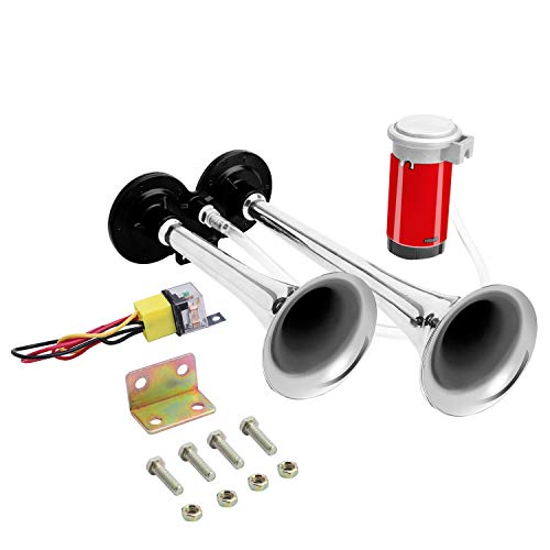 Carfka Train Horn for Trucks, Air Horn for Car, Electric 12v Loud Horns Kit with Air Compressor for Pickup,Vehicles, Small Dual Trumpet Black Horn, Easy to Install, Jeep SUV (Silver(Red Compressor))