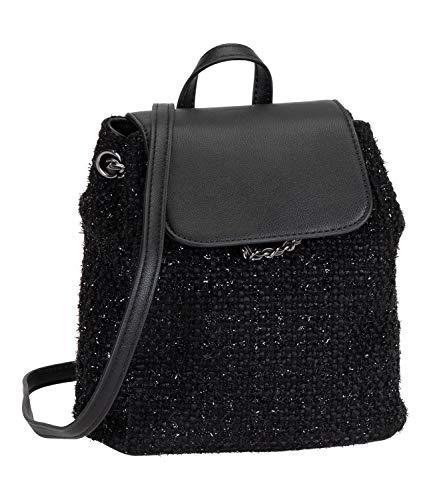SIX Schwarzer Mini Rucksack mit funkelnden Webfäden (539-016)