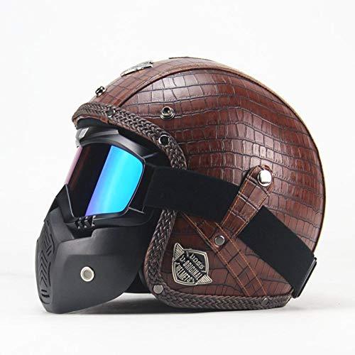 WUYEA Casques De Moto avec Masque De Masque Open Face Vintage PU Casque De Vélo en Cuir pour Hommes Et Femmes,XL