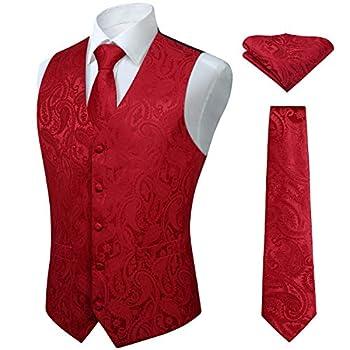 HISDERN Men s Vest Tie Set Paisley Floral Jacquard Necktie Pocket Square Waistcoat for Suit or Tuxedo Red