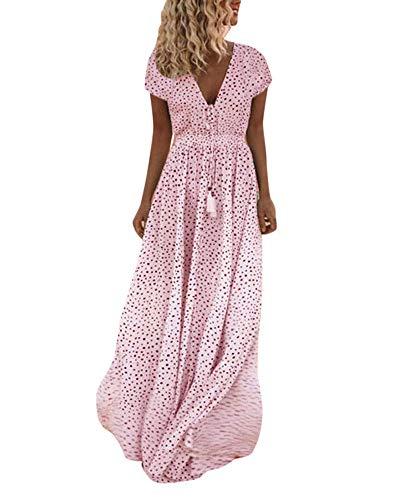 Tomwell Femme Mini Robe Été Petite Robe Mi-Longue Manches Robe Chemise Casual Col Rond Décontractée Rose 40