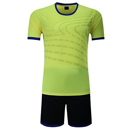 XFentech Maillots de Football, Costumes d'entraînement de compétition de Football, vêtements de Sport, kit de Football pour Hommes et garçons (Vert Fluorescent,EU S = Tag M)
