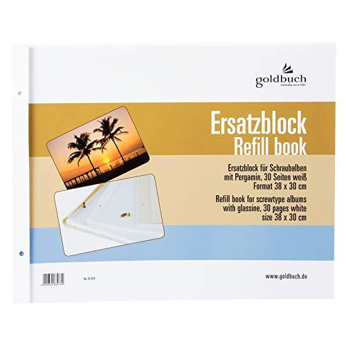 goldbuch 83078 Ersatzblock für Schraubalbum, 30 weiße Seiten mit Pergamin-Trennblättern, Passend für Foto Album mit einer Größe von 39 x 31 cm, Nachfüll Pack für Fotoalben