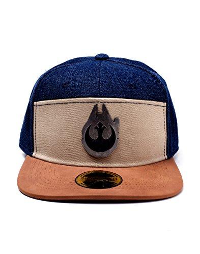 Bioworld Star Wars Han Solo Millennium Falcon Metal Badge Denim Snapback Baseball Cap Casquette, Multicolore (Multicolore), Taille Unique Mixte