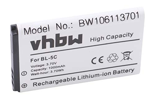 vhbw Li-Ion Akku 1000mAh (3.7V) für Handy, Smartphone, Telefon Swisstone BBM 300, BBM 400, BBM 610, BBM 615, BBM 625 wie BL-5C