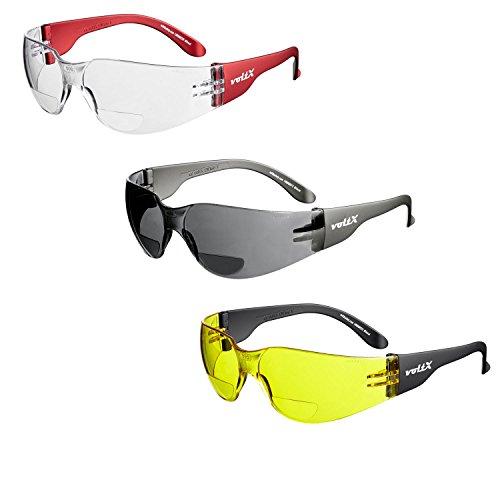 3 x voltX 'Grafter' BIFOKALE (GEMISCHT: 1x Klar 1x Gelb 1x Rauchgrau +2.0 Dioptrie) Leichtgewichts Industrie Lesen Schutzbrille, CE EN166F Zertifiziert/Sportbrille für Radler –Safety Bifocal Glasses