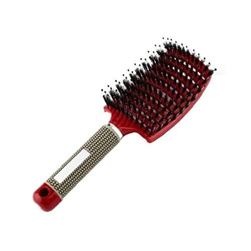 Heall Rote Curved Vent Bürste Kopfhaut-Massage-Kamm-Anti-Static Professionelle Barber Föhnen Kamm mit Borste Detangling Pins Frisur Werkzeug
