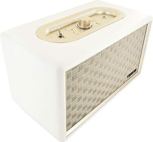 SCHWAIGER -661712- Altavoz Bluetooth | diseño retro | altavoz estéreo | aspecto de cuero | gabinete de madera | sonido voluminoso | escuchar música de forma inalámbrica | caja de música vintage
