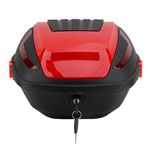 Motorcycle Tour Tail Box Scooter Trunk Luggage Top Lock Storage Carrier Case with Soft backrest and Quick-Release System - 30L Capacity - Can StoreFull Helmet